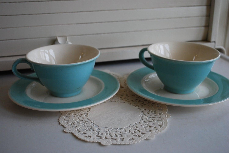 Vintage Robins Egg Tiffany Blue Tea Cup And Saucer Set Of 2