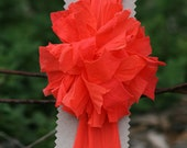Christmas in July CIJ  Headband with Orange Pom Pom Summer Bright Soft lightweight Halloween - FeathandKee