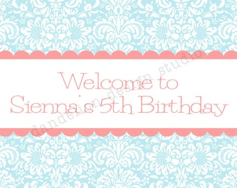 PRINTABLE Welcome Sign - Blue Shabby Chic Party Collection - Dandelion Design Studio