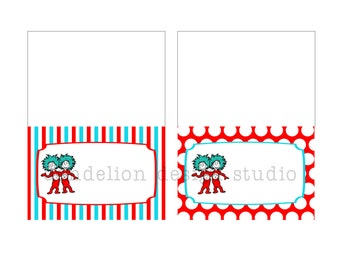 PRINTABLE Fancy Tent Tags - Dr Seuss Party Collection - Dandelion Design Studio