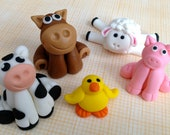 RESERVED LISTING- Fondant Farm Animal Cake Toppers - Set of 6