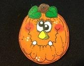 Funky Face Crazy Eyes Pumpkin Pin for Halloween Design 4