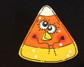 Funky Face Crazy Eyes Candy Corn Crooked Smile Boy  Pin for Halloween