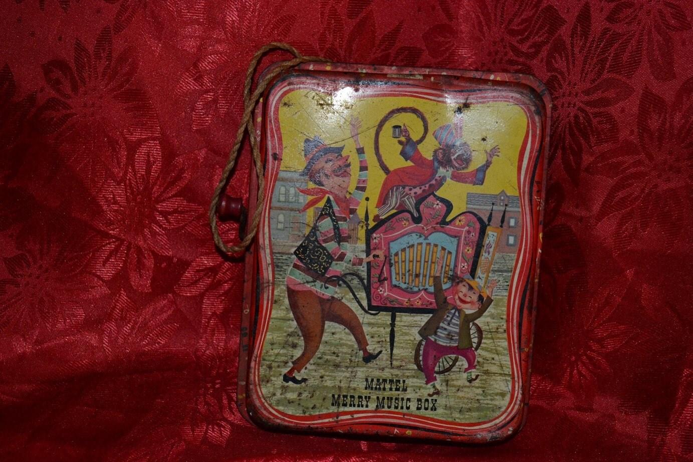 Old Mattel Toys : Vintage mattel merry music box tin toy