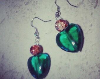 Emerald Heart Shaped Dangle Earrings