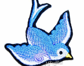 Turquoise Blue Sparrow Swallow Bird Rockabilly Iron On Embroidery Patch MTCoffinz