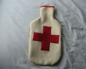 Handmade Hot Water Bottle Cover - Cream with Red Cross