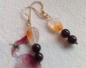 Carnelian carved leaves and garnet gold flash sterling silver earrings. Reserved for Joanne