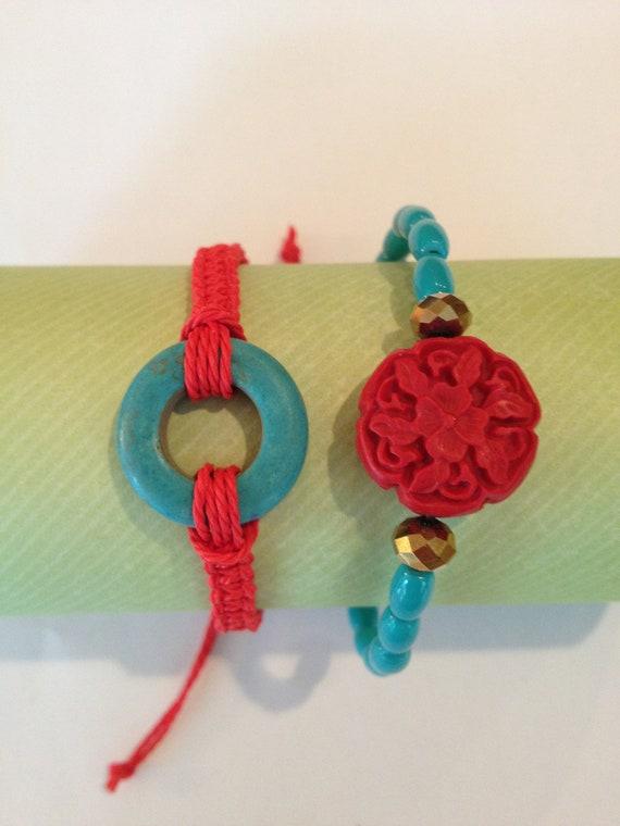 Macrame and beaded bracelet set/stackable