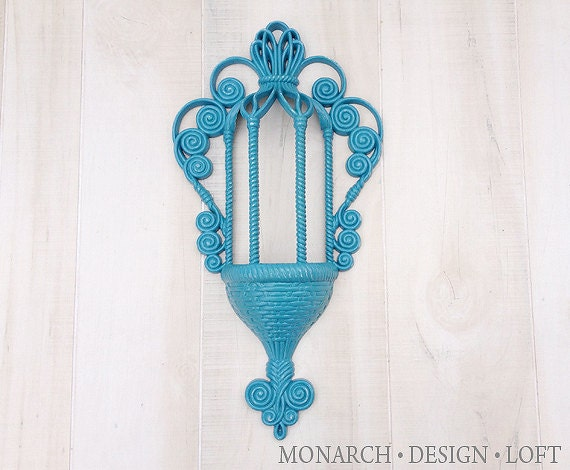 Vintage Teal Wall Decor : Items similar to teal wall art vintage scroll basket weave