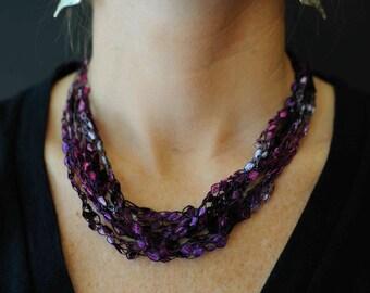 Crocheted Ladder Yarn Dazzle Necklace - Purple