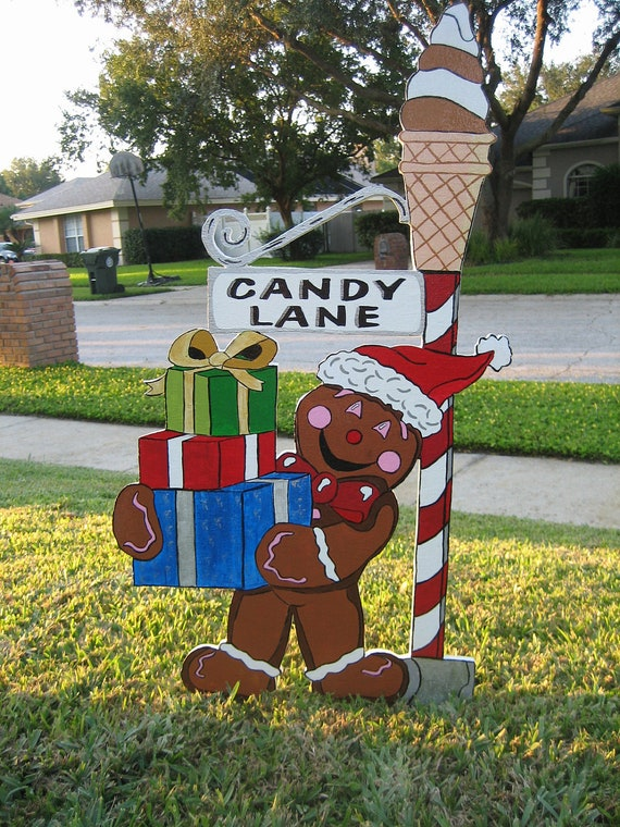 Christmas Candy Lane Ginger Bread Man By Yardartandsomuchmore