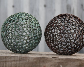 One only Small 12.5cm, 12 mm copper ring ball, Copper sphere, Metal sculpture