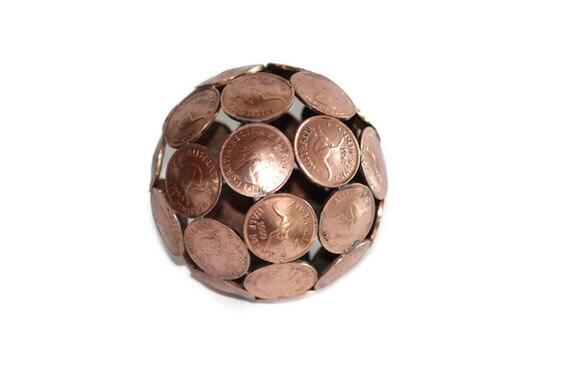 Mini half penny ball, Penny sphere, Metal sculpture ornament