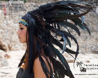 All Black Large Feather Crown Headdress by Paradise Gypsies