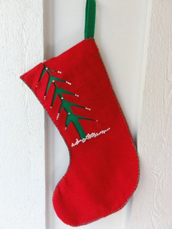 Handmade Felt Christmas Stocking Hand Stitched Christmas