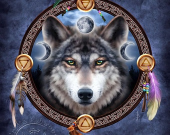 The Wolf Guide  -  Pagan Wiccan Print - Brigid Ashwood