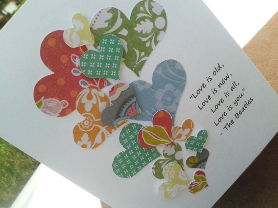 Handmade Blank Card with Quote from The Beatles - Just Because, I Love You, Romantic