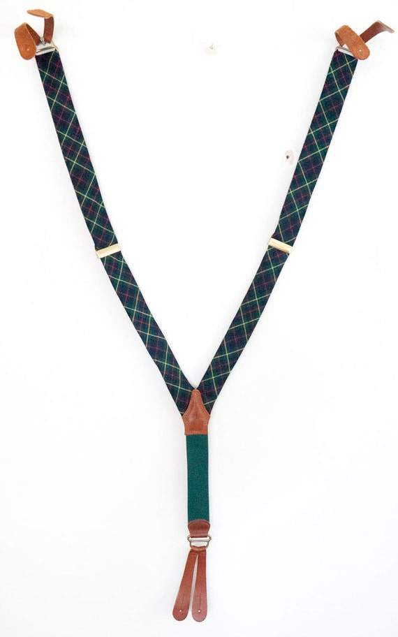 Polo Ralph Lauren Vintage Green Tartan Plaid and Leather Mens Suspenders