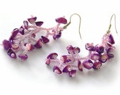 Purple Earrings.  Beaded Dangle Lilac Earrings. Beadwork
