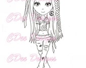 """Digital Stamp Hippie Luna """"CDeeDesigns"""""""
