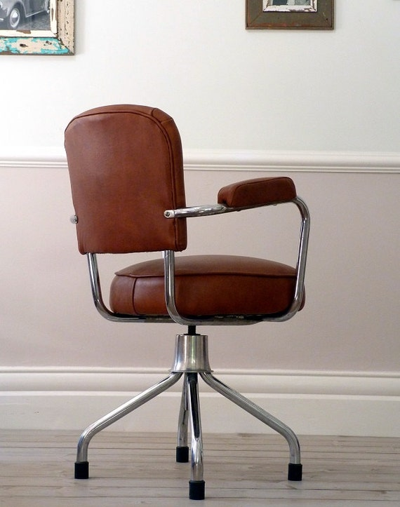 1960s French Vintage Leather Office Chair