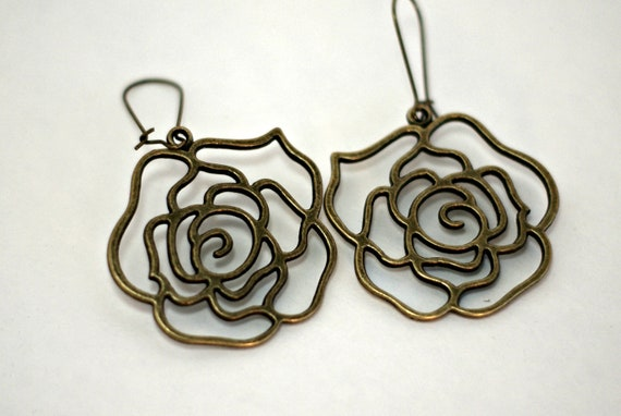Bronze Hollow Rose Dangle Earrings