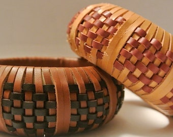 Leather Bangle Woven in a Spaced Checkerboard Pattern