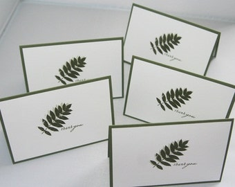 Hand Stamped Fern Thank You Card Set of FiveTen, Masculine Thanks Greeting Card Set, Thank You Stationery