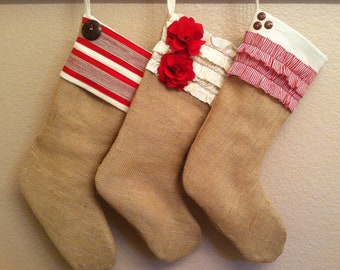 Shabby Chic Burlap Christmas Stocking: Red and White Collection