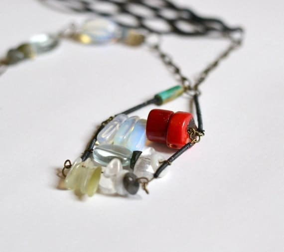 Turquoise, moonstone, quartz, coral and leather gemstone statement necklace.