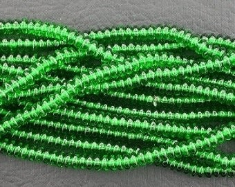 50 czech green 4mm rondelle spacer beads