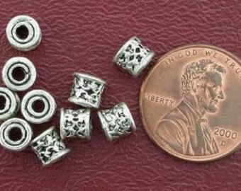 10 5mm drum bali pewter beads