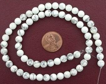 6mm round gemstone white howlite beads