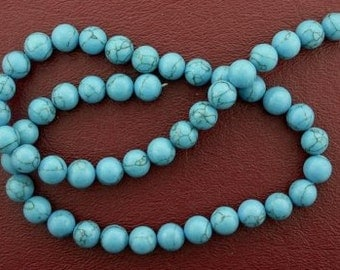 8mm round  synthetic turquoise beads gem