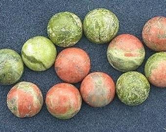 twelve 5mm round unakite cabochon gem stone gemstone