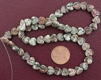 8mm heart gemstone leopardskin jasper beads