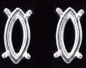 sterling pair 8x4 marquise gemstone earring mounting