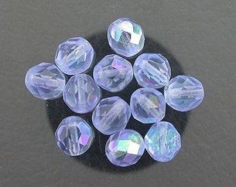 12  light sapphire  ab czech fire crystal beads 8mm