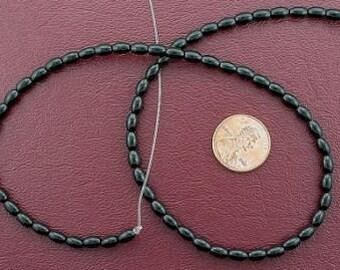 6x4 rice gemstone black onyx beads