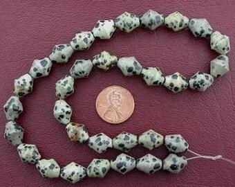 12x10 bicone dalmation jasper beads