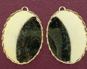two 30x22 bezel oval goldplated pendant mounting