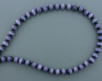 6mm black round fiber optic gemstone bead strand