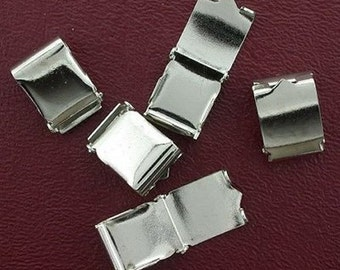 five large 16.5mm long silver plated foldover clasps