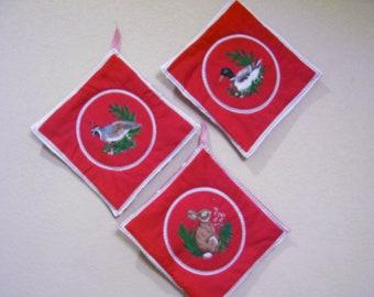 Three red & white handmade Christmas Pot Holders