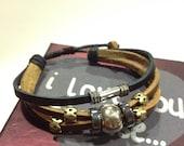 Silver Bead Leather Strand Zen Bracelet