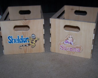 Custom Hand Made Wooden Toy Crates personalized with your child's name and character