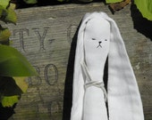 Reserved for Simonisacat Stuffed Toy Dog White Modern  / Minimalist / Quirky Eco Small Soft Animal