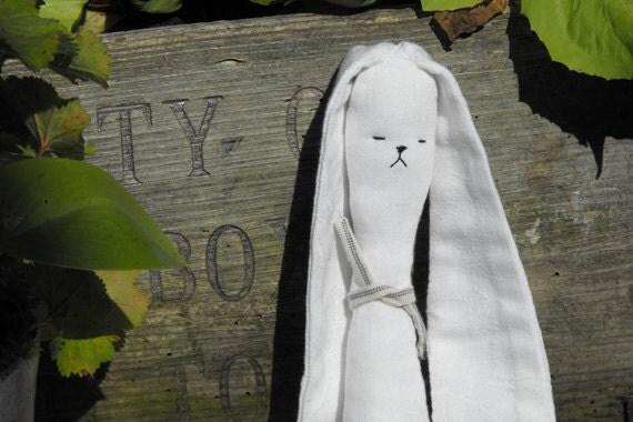 Stuffed Toy Dog White Modern  / Minimalist / Quirky Eco Small Soft Animal Upcycled Irish Linen / Nursery Decor / UK Seller / Bramble and Oak