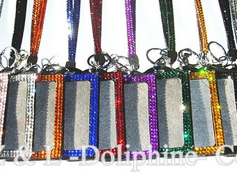 Colorful Rhinestone Crystal Bling Neck LANYARDs Key Chain Key Holder & Vertical ID Badge Holder